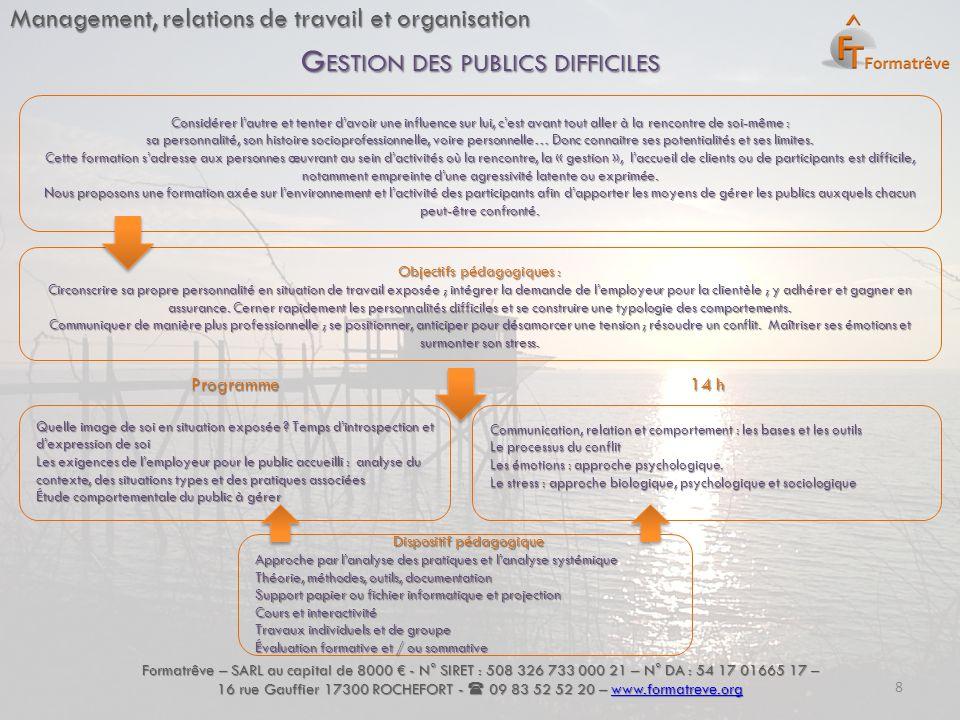 Management, relations de travail et organisation Formatrêve – SARL au capital de 8000 € - N° SIRET : 508 326 733 000 21 – N° DA : 54 17 01665 17 – 16