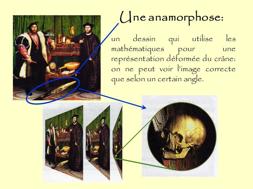 Une anamorphose: un dessin qui utilise les mathématiques pour une représentation déformée du crâne: on ne peut voir l'image correcte que selon un certain angle.