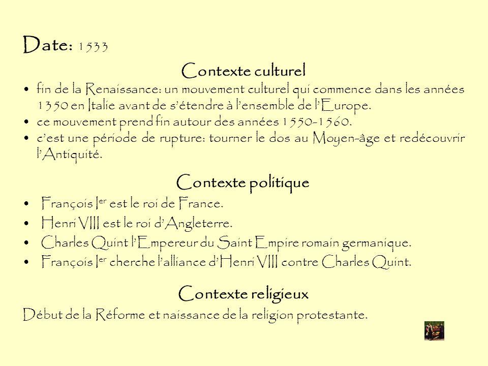 Date: 1533 Contexte politique François I er est le roi de France.