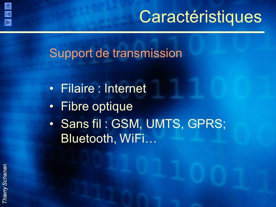 Thierry Schanen Caractéristiques Support de transmission Filaire : Internet Fibre optique Sans fil : GSM, UMTS, GPRS; Bluetooth, WiFi…