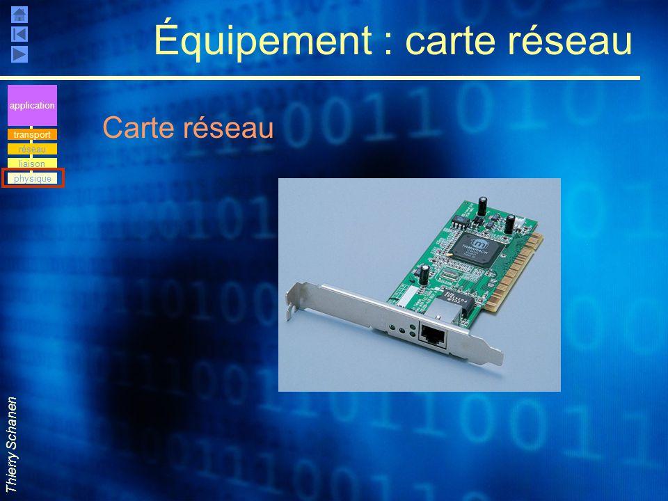 Thierry Schanen Équipement : carte réseau Carte réseau application transport réseau liaison physique