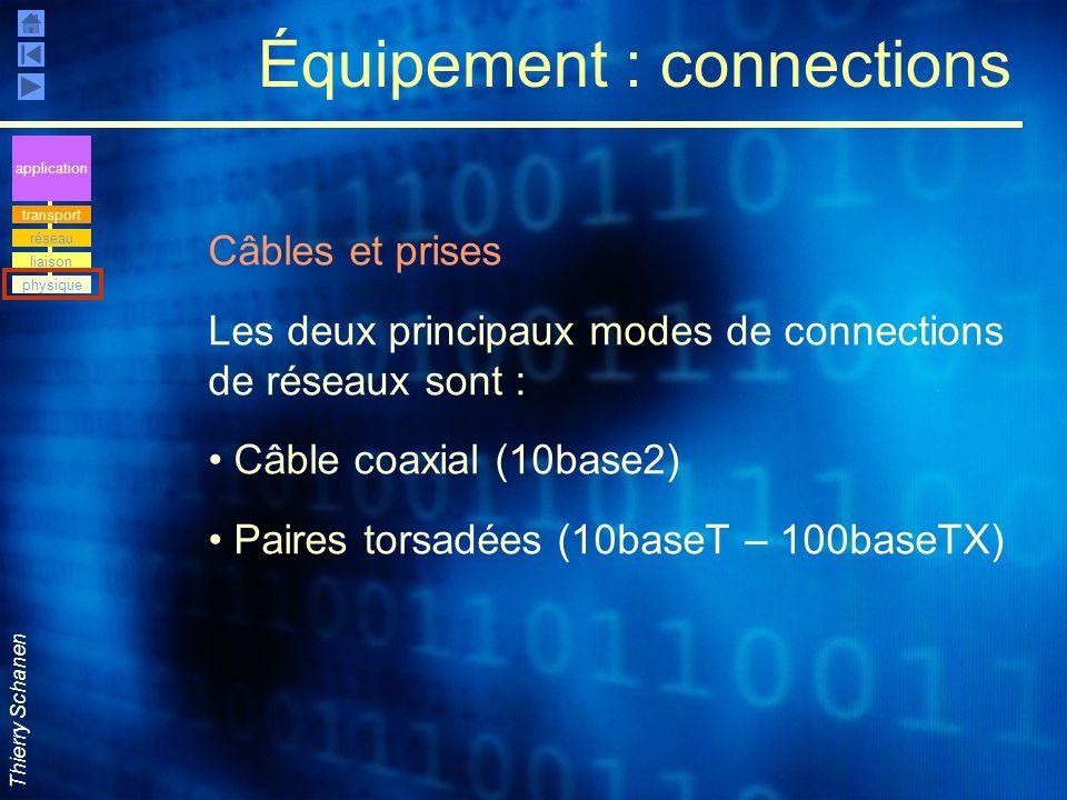 Thierry Schanen Équipement : connections Câbles et prises Les deux principaux modes de connections de réseaux sont : Câble coaxial (10base2) Paires to