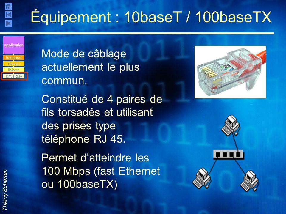 Thierry Schanen Équipement : 10baseT / 100baseTX Mode de câblage actuellement le plus commun. Constitué de 4 paires de fils torsadés et utilisant des