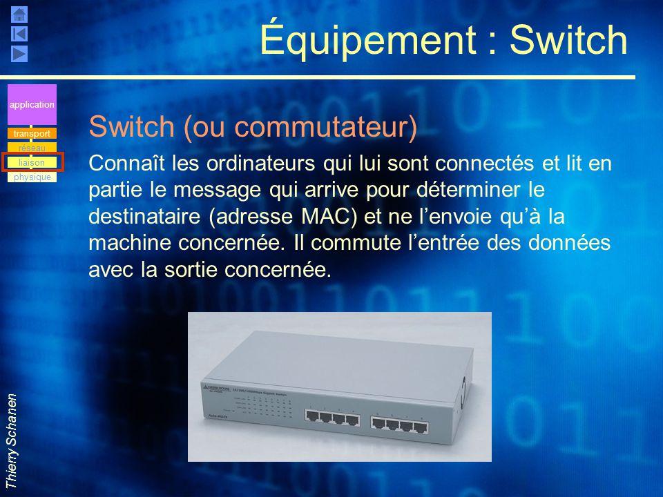 Thierry Schanen Équipement : Switch Switch (ou commutateur) Connaît les ordinateurs qui lui sont connectés et lit en partie le message qui arrive pour
