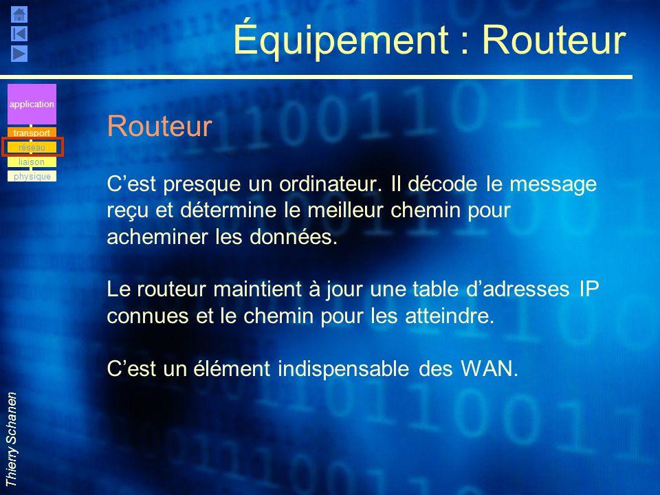 Thierry Schanen Équipement : Routeur Routeur C'est presque un ordinateur. Il décode le message reçu et détermine le meilleur chemin pour acheminer les