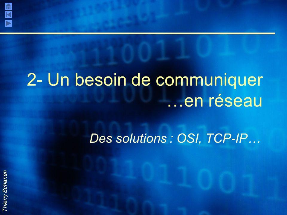 Thierry Schanen 2- Un besoin de communiquer …en réseau Des solutions : OSI, TCP-IP…