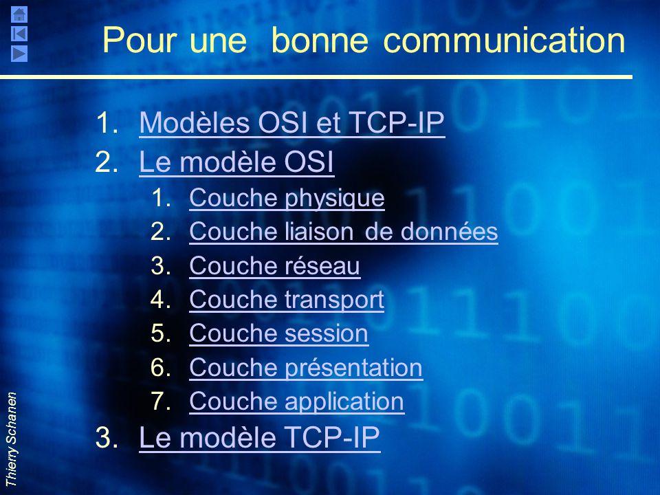 Thierry Schanen Pour une bonne communication 1.Modèles OSI et TCP-IPModèles OSI et TCP-IP 2.Le modèle OSILe modèle OSI 1.Couche physiqueCouche physiqu