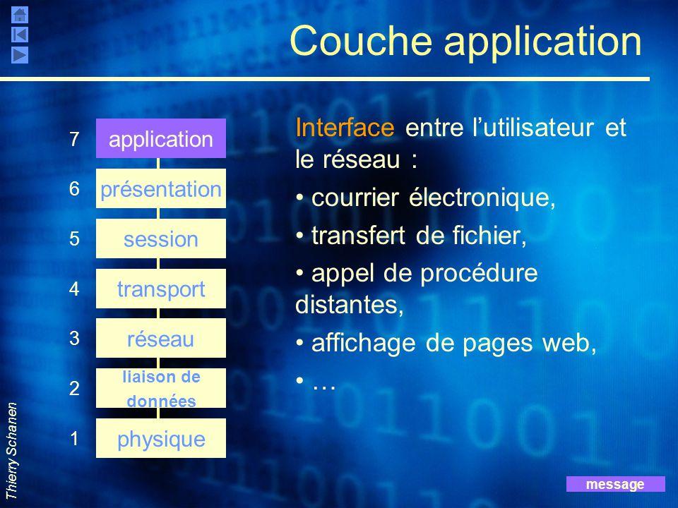 Thierry Schanen Couche application Interface entre l'utilisateur et le réseau : courrier électronique, transfert de fichier, appel de procédure distan