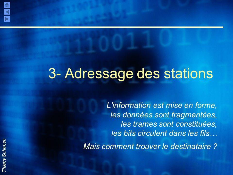 Thierry Schanen 3- Adressage des stations L'information est mise en forme, les données sont fragmentées, les trames sont constituées, les bits circule