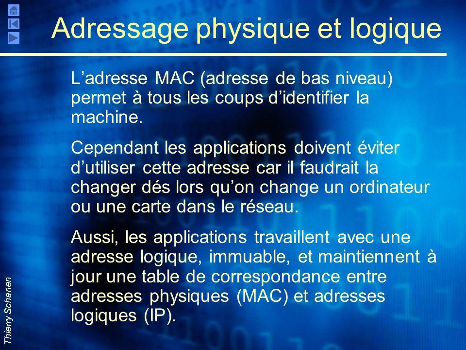 Thierry Schanen Adressage physique et logique L'adresse MAC (adresse de bas niveau) permet à tous les coups d'identifier la machine. Cependant les app