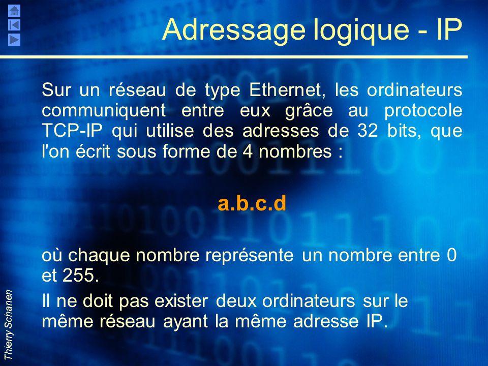 Thierry Schanen Adressage logique - IP Sur un réseau de type Ethernet, les ordinateurs communiquent entre eux grâce au protocole TCP-IP qui utilise de