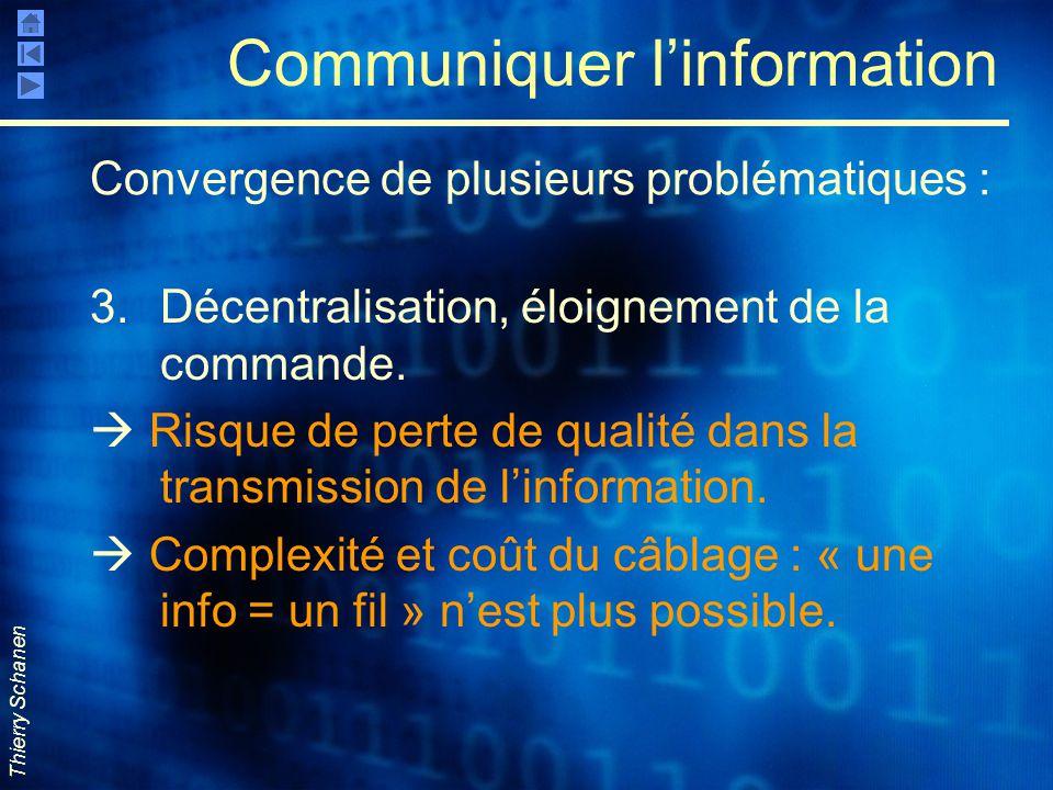 Thierry Schanen Communiquer l'information 3.Décentralisation, éloignement de la commande.  Risque de perte de qualité dans la transmission de l'infor