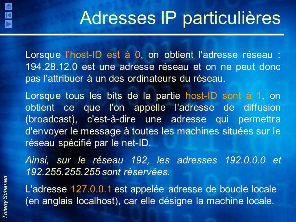Thierry Schanen Adresses IP particulières Lorsque l'host-ID est à 0, on obtient l'adresse réseau : 194.28.12.0 est une adresse réseau et on ne peut do