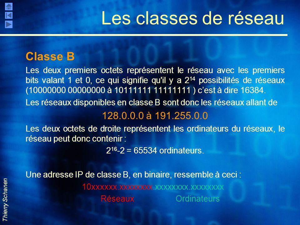 Thierry Schanen Les classes de réseau Classe B Les deux premiers octets représentent le réseau avec les premiers bits valant 1 et 0, ce qui signifie q