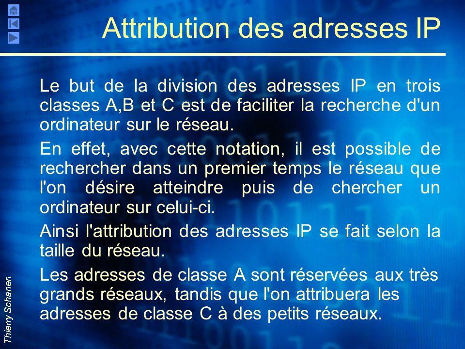 Thierry Schanen Attribution des adresses IP Le but de la division des adresses IP en trois classes A,B et C est de faciliter la recherche d'un ordinat