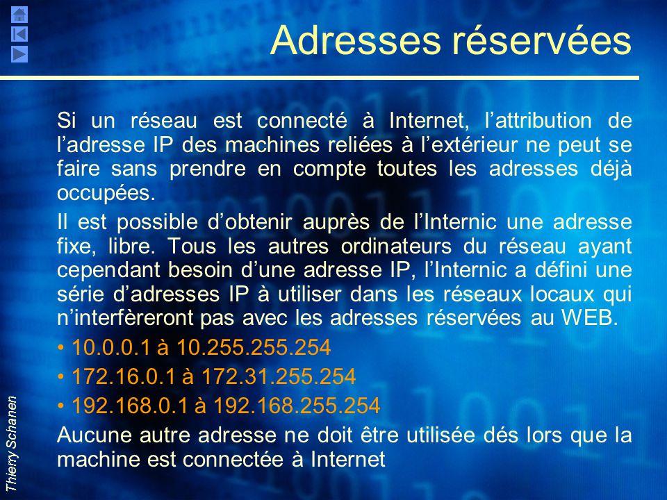 Thierry Schanen Adresses réservées Si un réseau est connecté à Internet, l'attribution de l'adresse IP des machines reliées à l'extérieur ne peut se f