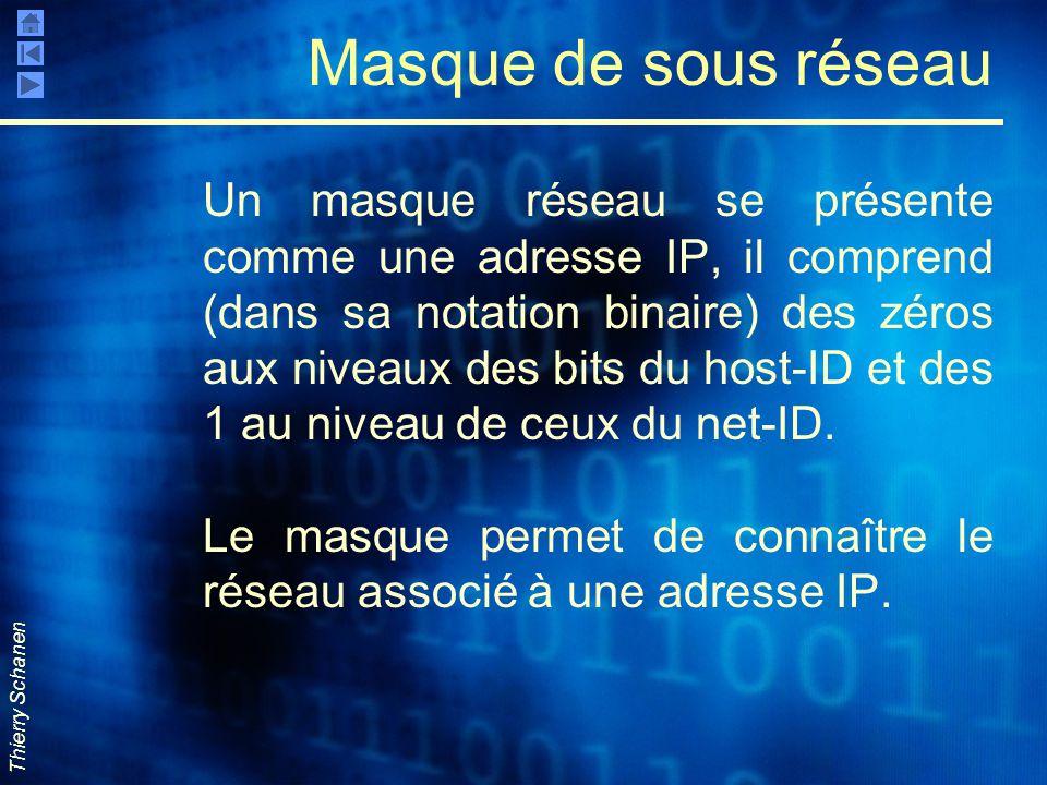 Thierry Schanen Masque de sous réseau Un masque réseau se présente comme une adresse IP, il comprend (dans sa notation binaire) des zéros aux niveaux