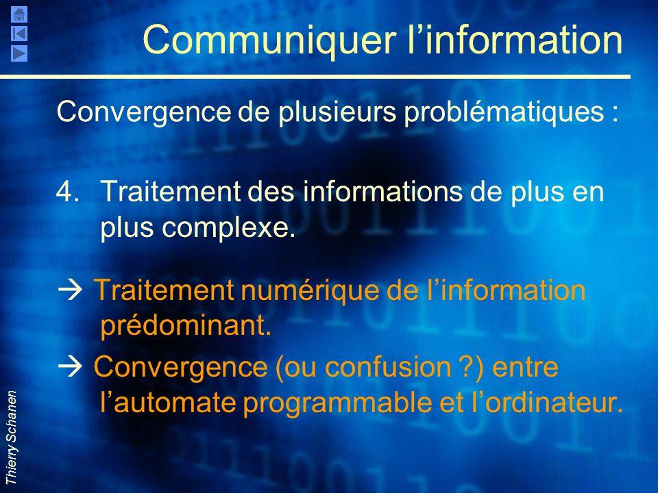 Thierry Schanen Communiquer l'information 4.Traitement des informations de plus en plus complexe.  Traitement numérique de l'information prédominant.