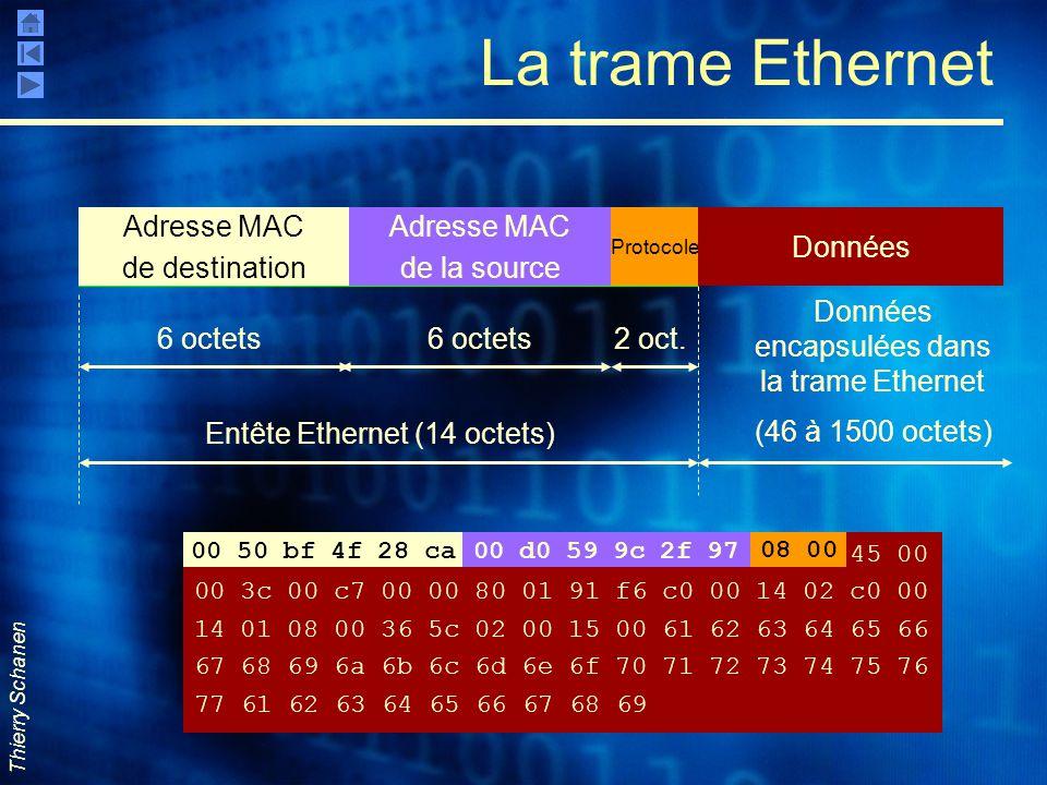 Thierry Schanen Entête La trame Ethernet Adresse MAC de destination Adresse MAC de la source Protocole Données 6 octets 2 oct. (46 à 1500 octets) Entê