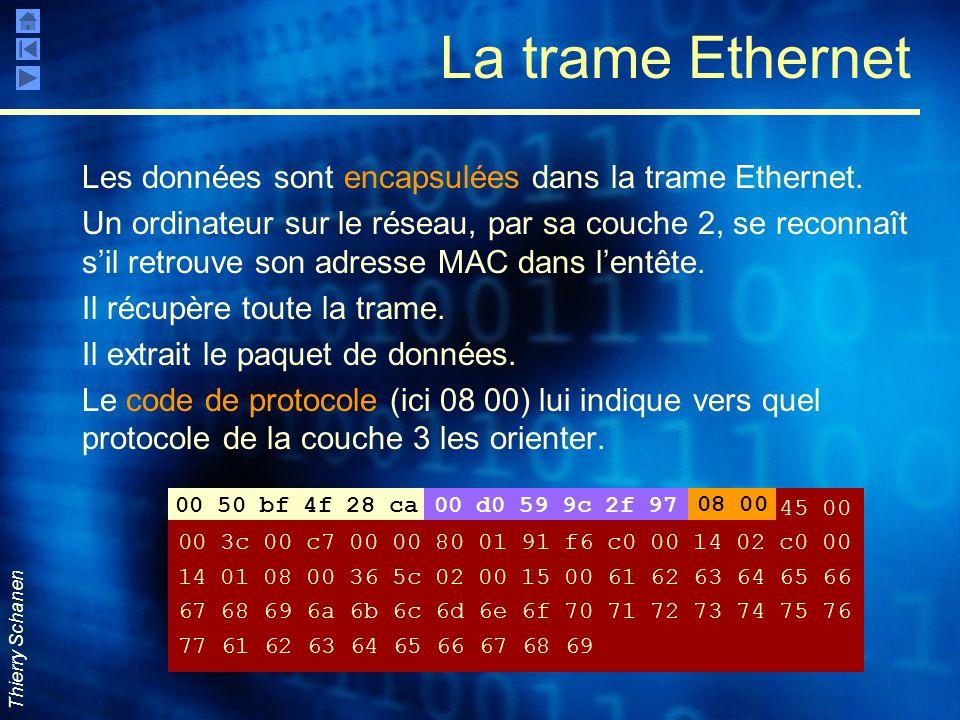 Thierry Schanen La trame Ethernet Les données sont encapsulées dans la trame Ethernet. Un ordinateur sur le réseau, par sa couche 2, se reconnaît s'il