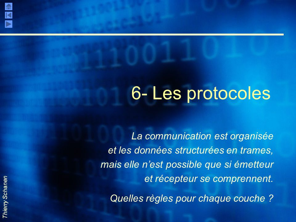 Thierry Schanen 6- Les protocoles La communication est organisée et les données structurées en trames, mais elle n'est possible que si émetteur et réc