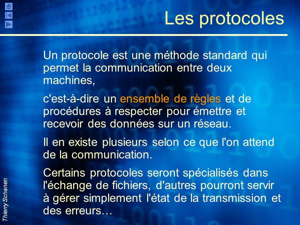 Thierry Schanen Les protocoles Un protocole est une méthode standard qui permet la communication entre deux machines, c'est-à-dire un ensemble de règl