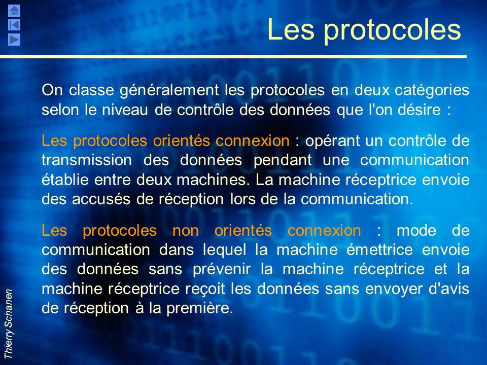 Thierry Schanen Les protocoles On classe généralement les protocoles en deux catégories selon le niveau de contrôle des données que l'on désire : Les