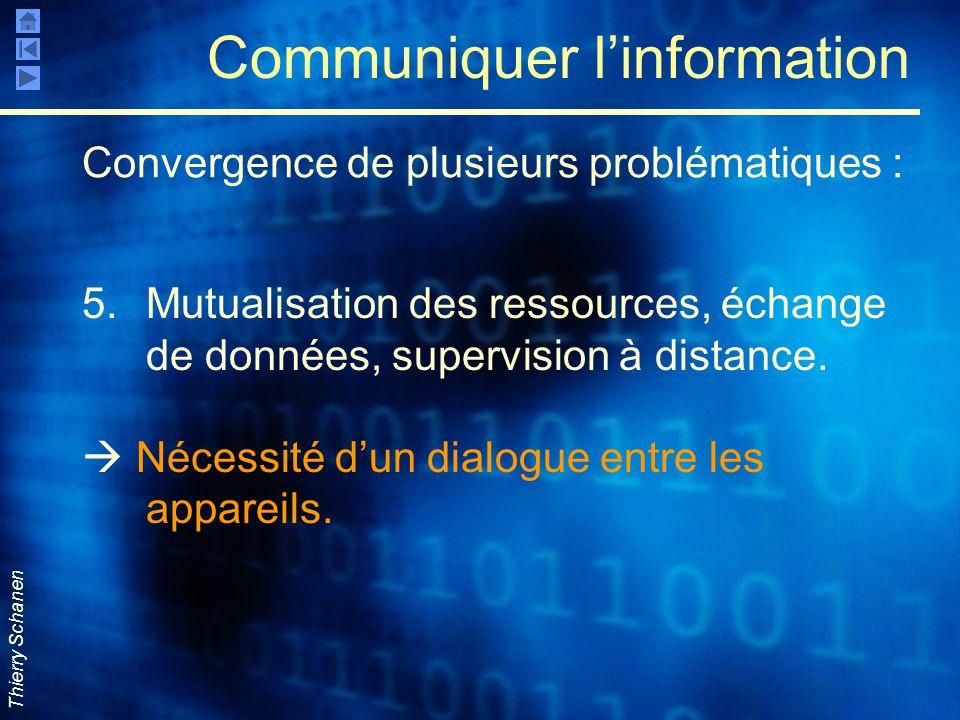 Thierry Schanen Communiquer l'information 5.Mutualisation des ressources, échange de données, supervision à distance.  Nécessité d'un dialogue entre