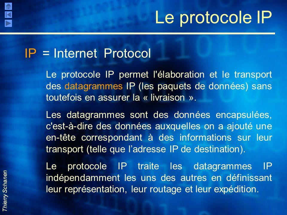 Thierry Schanen Le protocole IP IP = Internet Protocol Le protocole IP permet l'élaboration et le transport des datagrammes IP (les paquets de données