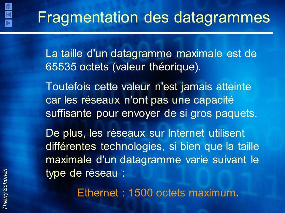 Thierry Schanen Fragmentation des datagrammes La taille d'un datagramme maximale est de 65535 octets (valeur théorique). Toutefois cette valeur n'est