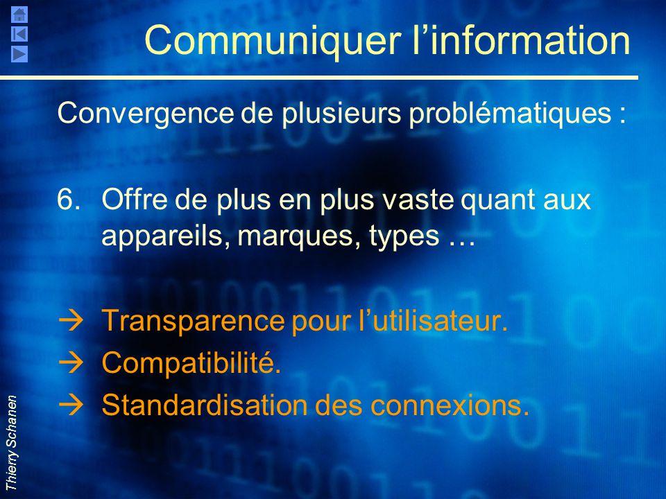 Thierry Schanen Communiquer l'information 6.Offre de plus en plus vaste quant aux appareils, marques, types …  Transparence pour l'utilisateur.  Com