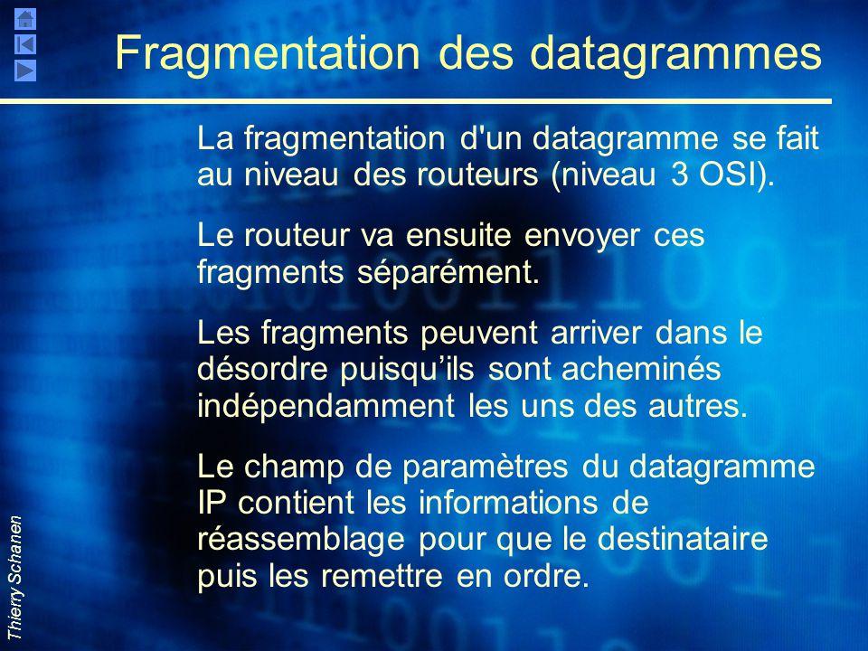 Thierry Schanen Fragmentation des datagrammes La fragmentation d'un datagramme se fait au niveau des routeurs (niveau 3 OSI). Le routeur va ensuite en