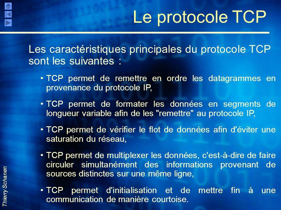Thierry Schanen Le protocole TCP Les caractéristiques principales du protocole TCP sont les suivantes : TCP permet de remettre en ordre les datagramme
