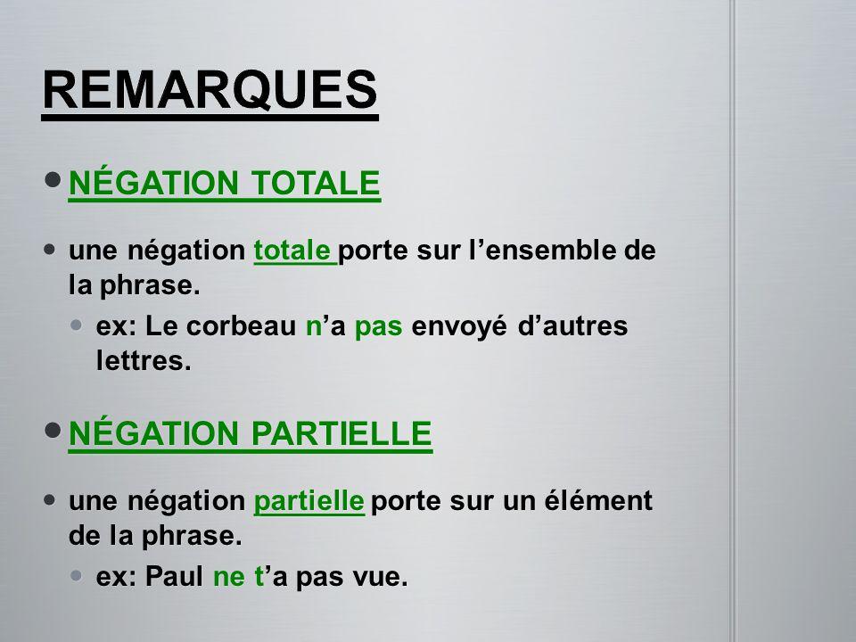 NÉGATION TOTALE NÉGATION TOTALE une négation totale porte sur l'ensemble de la phrase. une négation totale porte sur l'ensemble de la phrase. ex: Le c