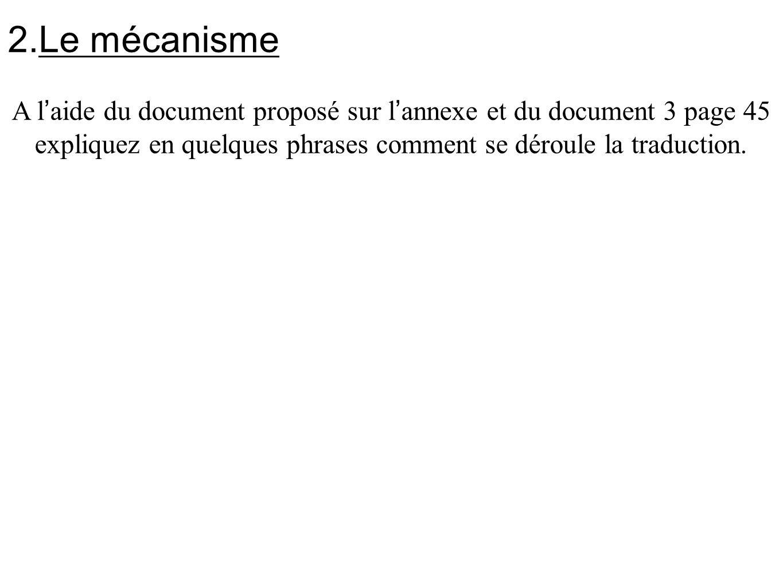 2.Le mécanisme A l ' aide du document proposé sur l ' annexe et du document 3 page 45 expliquez en quelques phrases comment se déroule la traduction.