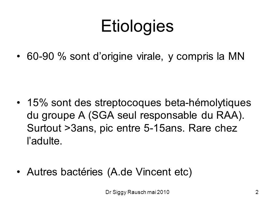 Symptômes Typiques: D+, gorge-amygdales rouges, exsudat amygdalien,Adp cervicales, T°, Vésicules: Herpangine typique de virus(coxsackie,enterovirus, herpes) Ulcères: A.de Vincent (Tabagique adulte) Hiv 3Dr Siggy Rausch mai 2010