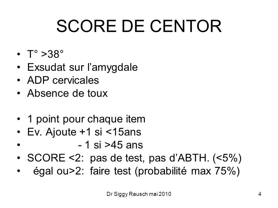 Test de diagnostic rapide Streptatest rapide et fiable (code LH 003 = 8,82 Euro remboursé 100%) Alternative: Frottis pour culture 5Dr Siggy Rausch mai 2010