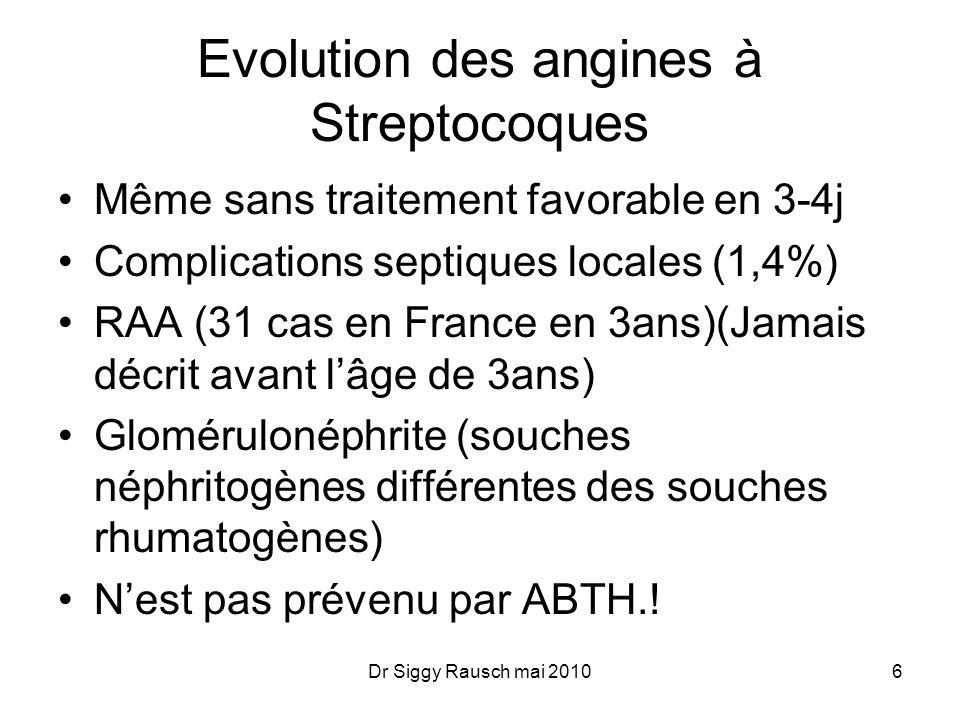 Evolution des angines à Streptocoques Même sans traitement favorable en 3-4j Complications septiques locales (1,4%) RAA (31 cas en France en 3ans)(Jamais décrit avant l'âge de 3ans) Glomérulonéphrite (souches néphritogènes différentes des souches rhumatogènes) N'est pas prévenu par ABTH..