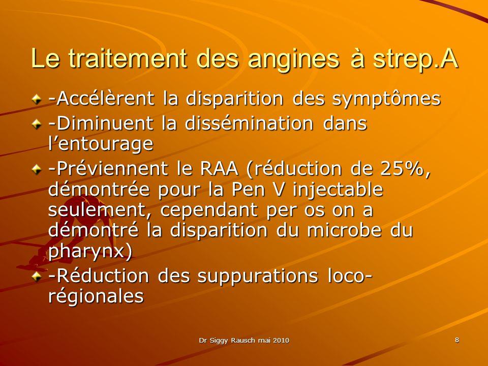 Le traitement des angines à strep.A -Accélèrent la disparition des symptômes -Diminuent la dissémination dans l'entourage -Préviennent le RAA (réduction de 25%, démontrée pour la Pen V injectable seulement, cependant per os on a démontré la disparition du microbe du pharynx) -Réduction des suppurations loco- régionales 8 Dr Siggy Rausch mai 2010