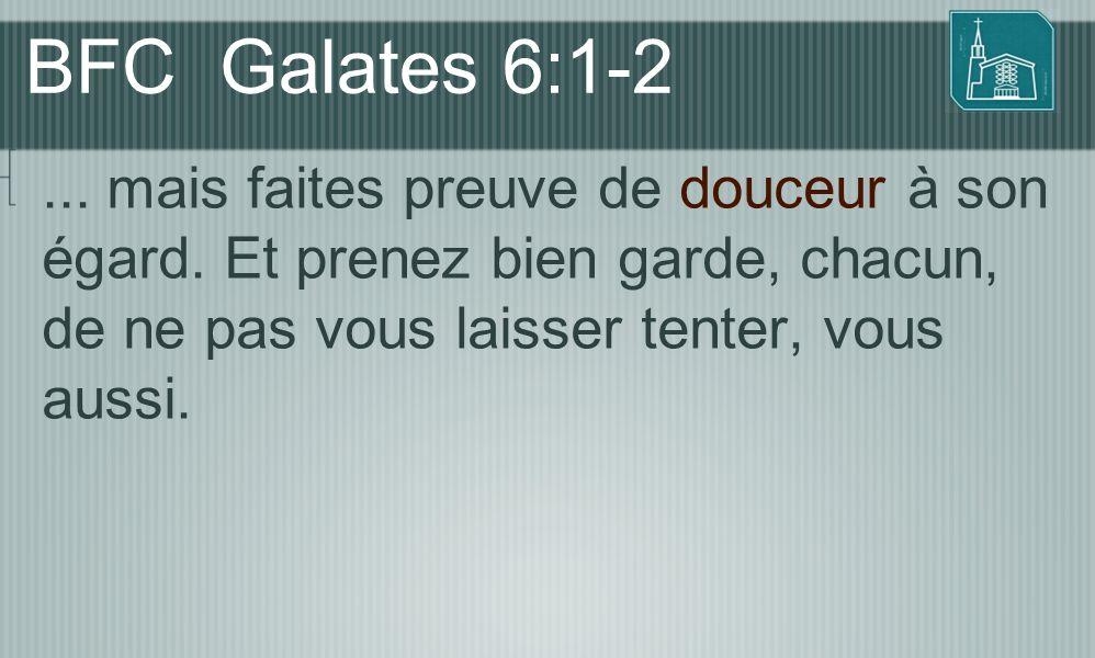 BFC Galates 6:1-2... mais faites preuve de douceur à son égard. Et prenez bien garde, chacun, de ne pas vous laisser tenter, vous aussi.