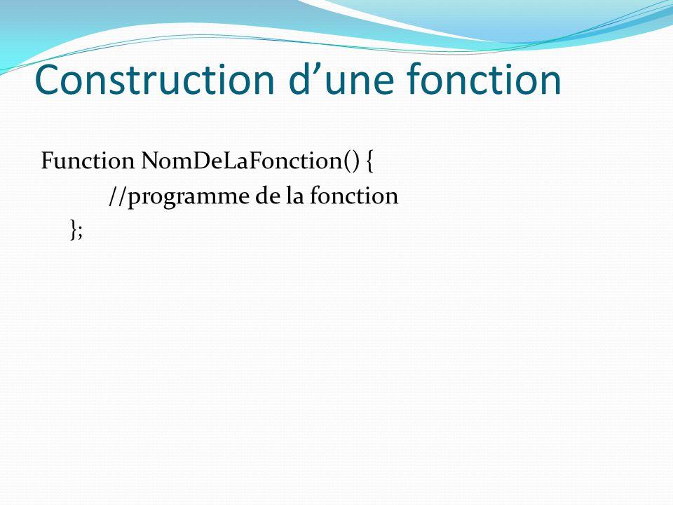 Construction d'une fonction Function NomDeLaFonction() { //programme de la fonction };