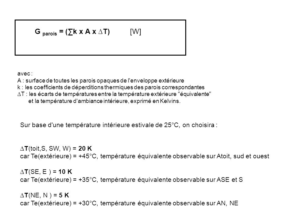 G parois = (∑k x A x ∆T) [W] Sur base d'une température intérieure estivale de 25°C, on choisira : ∆T(toit,S, SW, W) = 20 K car Te(extérieure) = +45°C
