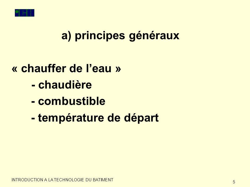 6 INTRODUCTION A LA TECHNOLOGIE DU BATIMENT a) principes généraux « corps de chauffe » - radiateur - régulation