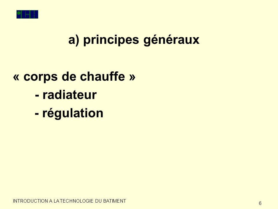 7 INTRODUCTION A LA TECHNOLOGIE DU BATIMENT a) principes généraux « faire circuler » - circuit - pompe - expansion