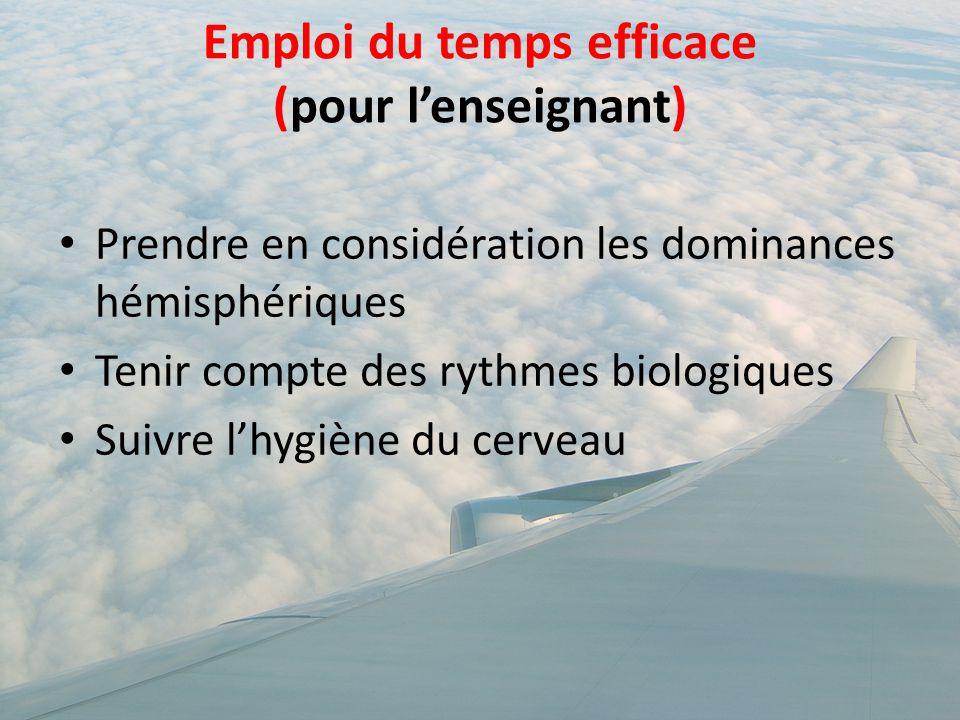 Emploi du temps efficace (pour l'enseignant) Prendre en considération les dominances hémisphériques Tenir compte des rythmes biologiques Suivre l'hygi