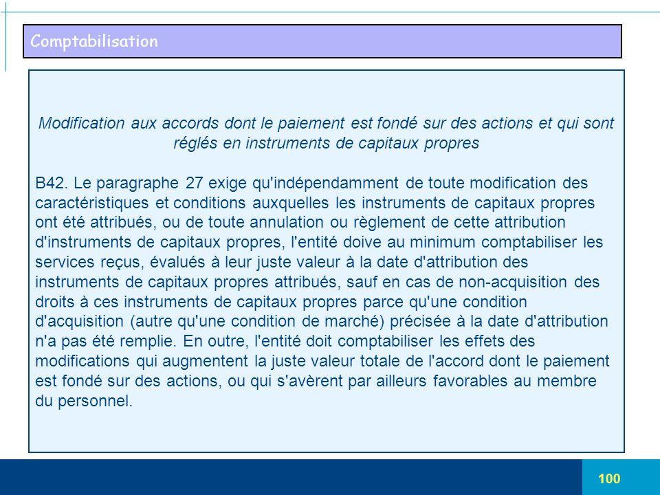 100 Comptabilisation Modification aux accords dont le paiement est fondé sur des actions et qui sont réglés en instruments de capitaux propres B42. Le