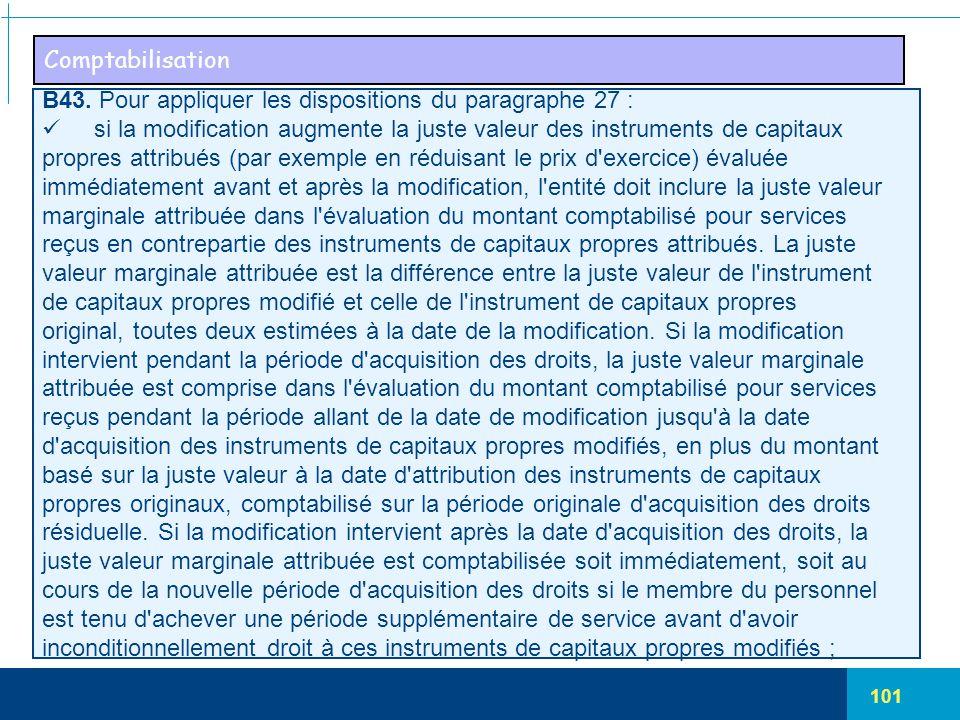101 Comptabilisation B43. Pour appliquer les dispositions du paragraphe 27 : si la modification augmente la juste valeur des instruments de capitaux p