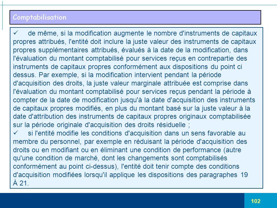 102 Comptabilisation de même, si la modification augmente le nombre d'instruments de capitaux propres attribués, l'entité doit inclure la juste valeur