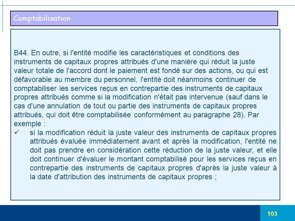 103 Comptabilisation B44. En outre, si l'entité modifie les caractéristiques et conditions des instruments de capitaux propres attribués d'une manière