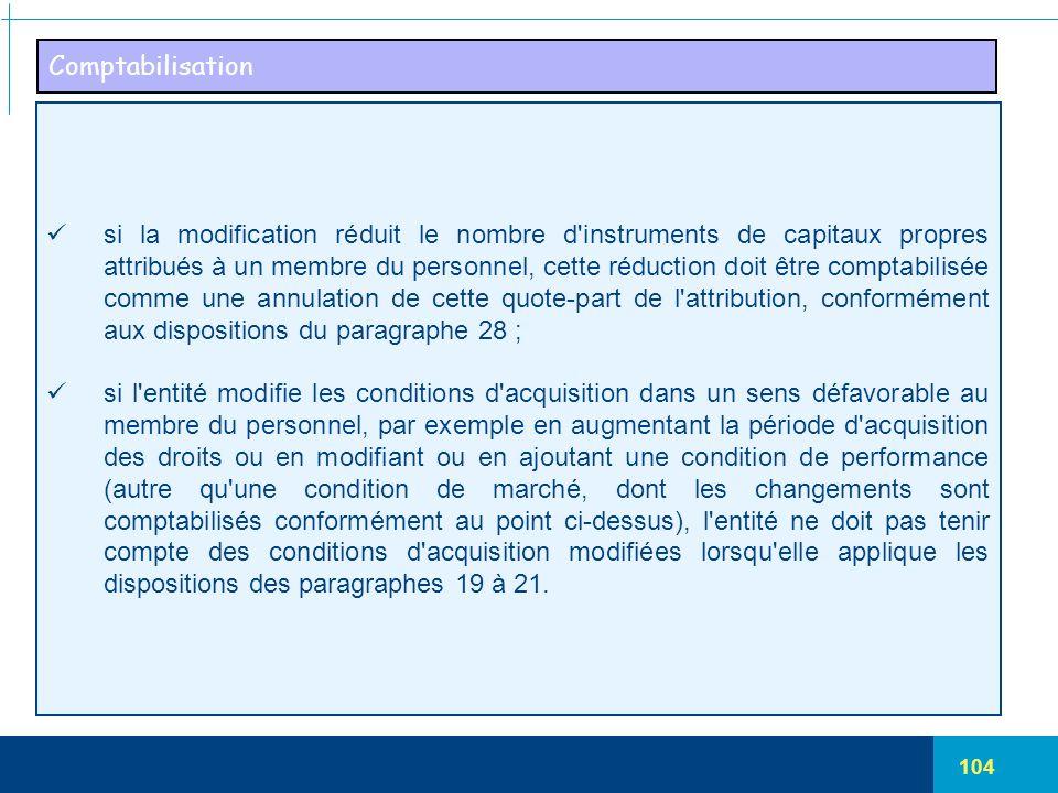 104 Comptabilisation si la modification réduit le nombre d'instruments de capitaux propres attribués à un membre du personnel, cette réduction doit êt
